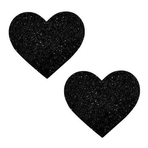 Black Malice Glitter I Heart U Nipztix Pasties