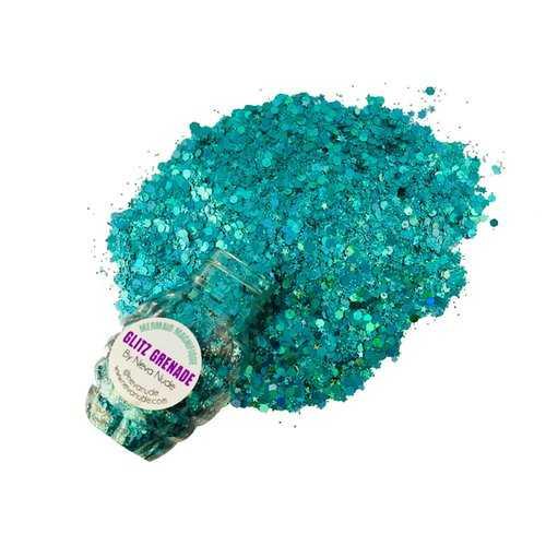 Mermaid Magnifique Turquoise Cosmetic Glitter Glitz Grenade Keychain in Aloe Gel