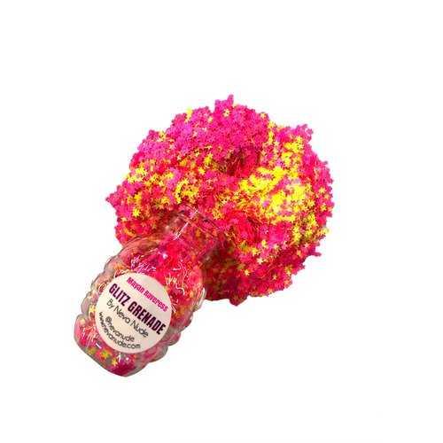 Mayan Raveress Neon Uv Cosmetic  Glitter Glitz Grenade Keychain in Aloe Gel