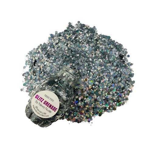 Trixie Pixie Gunmetal Cosmetic Glitz Grenade Keychain in Aloe Gel