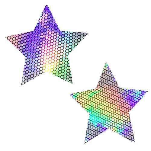 Liquid Party Silver Holographic Starry Nights  Nipztix Pasties