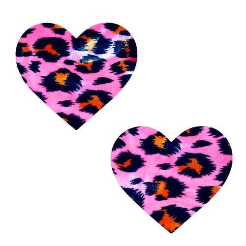 Pink Cheeky Cheetah Velvet Crush Blacklight I  Heart U Nipztix Pasties