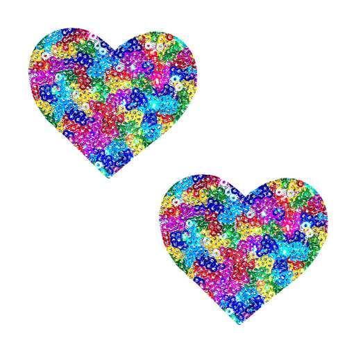 Unipoo Sparkle Sequin Multicolor I Heart U  Nipztix Pasties