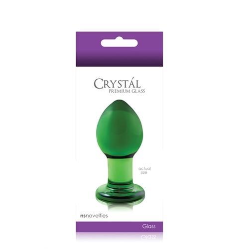Crystal Premium Glass Plug - Medium - Clear Green