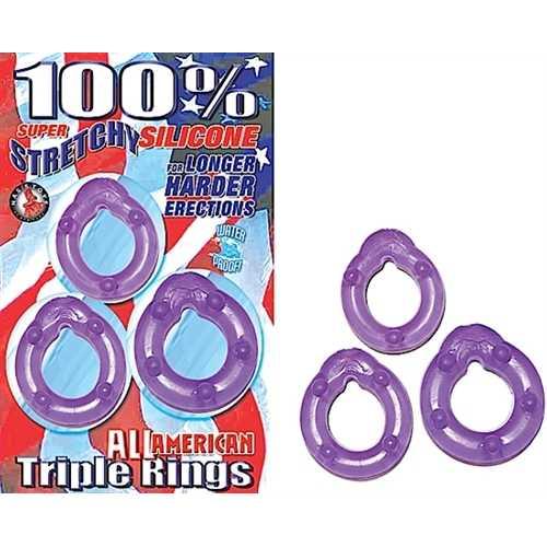 All American Triple Rings-Purple
