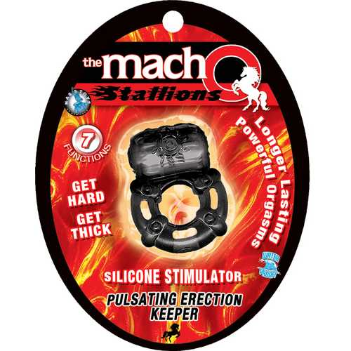 The Macho Stallions Pulsating Erection Keeper - Black