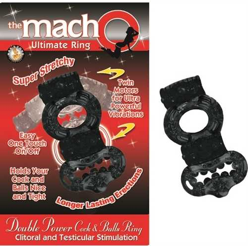 The Macho Collection Double Power Cock and Balls Rising - Black