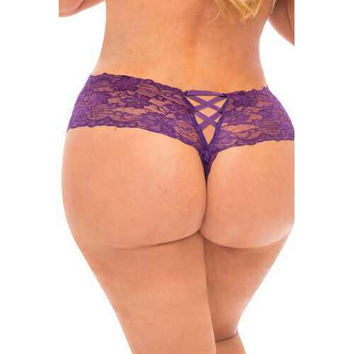 Good Night Kiss Boyshort With Elastic Detail - Grape Royale - 3x4x