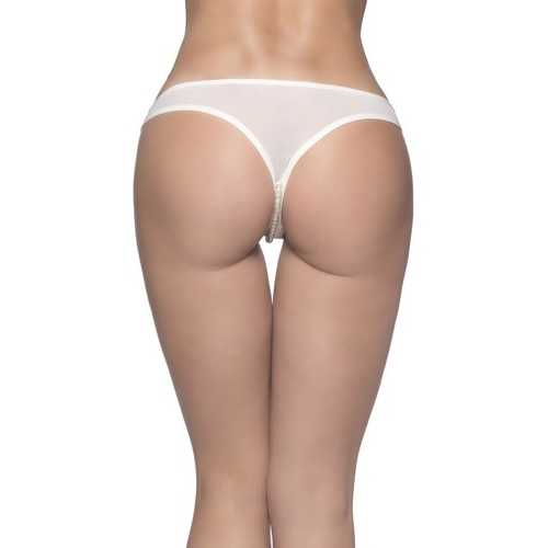 Crotchless Thong With Pearls and Venise Detail - White - 1x2x