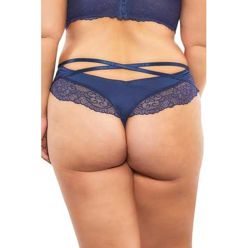 High Leg Lined Thong With Crossing Back Straps - Estate Blue - 3x