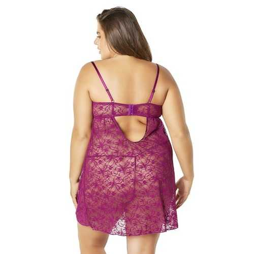 Lace Empire Babydoll With Functional Tie Shelf Cups G-String - Amaranth - 1x2x