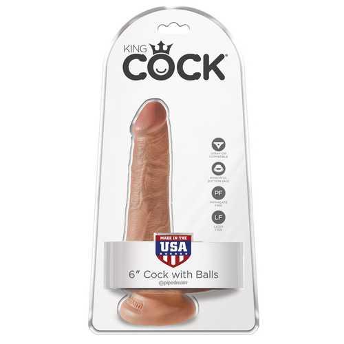 "King Cock 6"" Cock With Balls - Tan"