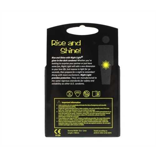 Night Light Lubricated Condoms - 3 Pack