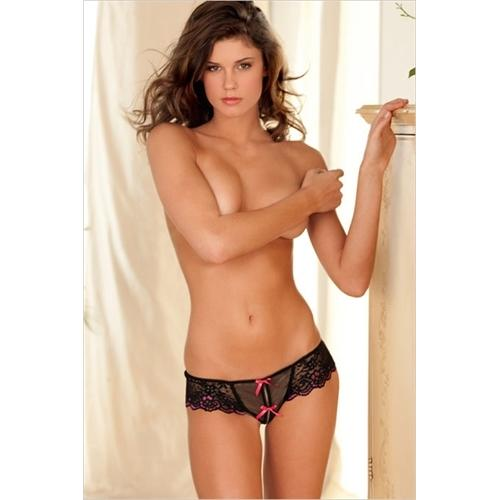 Crotchless Cross-Dyed Lace and Mesh Thong With Bows - Medium/ Large - Black