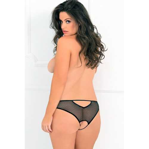 Dot to Trot Open Back Crotchless Panty - 3x4x - Black