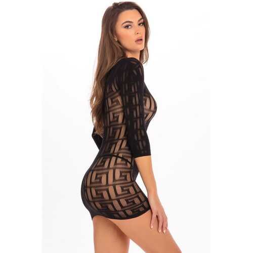 Exotic Geometry Mini Dress - Black - M/l