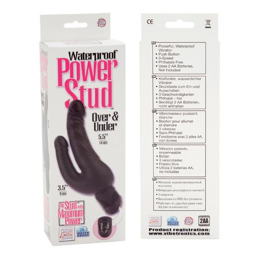 Waterproof Power Stud Over and Under Dong - Black