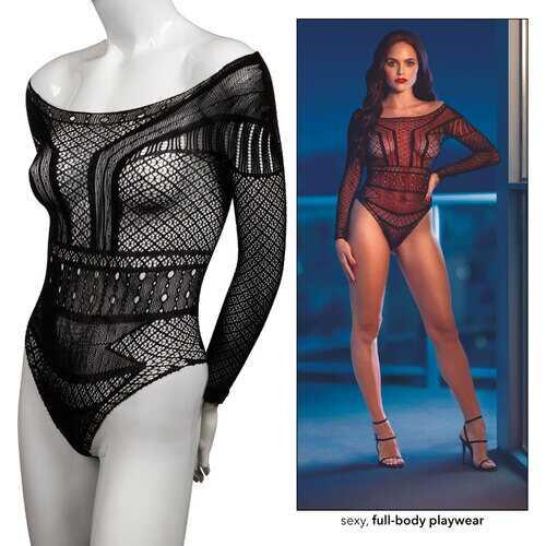 Scandal Off the Shoulder Body Suit - One Size - Black