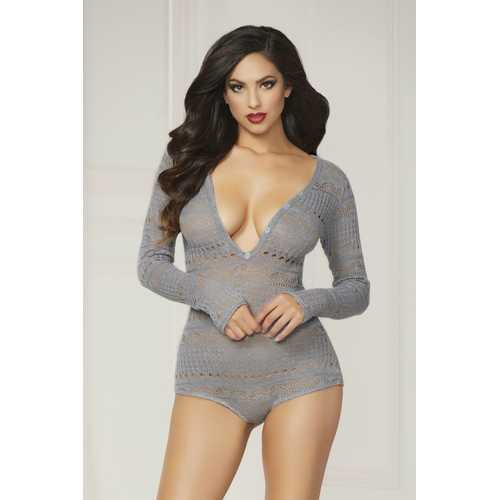 Knit Long Sleeve Romper  - Extra Large - Grey