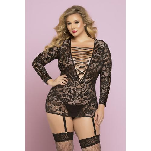 All Night Long Chemise Set  - Queen Size - Black