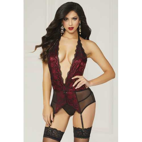 Galloon Lace & Mesh Chemise & Thong  - One Size - Black