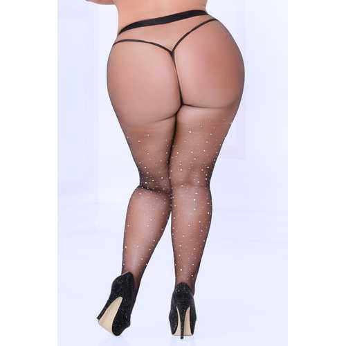 Crystal Rhinestone Fishnet Stockings - Black - Queen Size