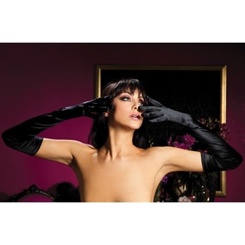 Satin Opera Gloves - Black