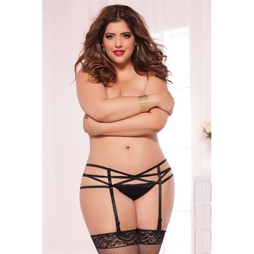 Strappy Elastic Garter Belt - Queen Size - Black