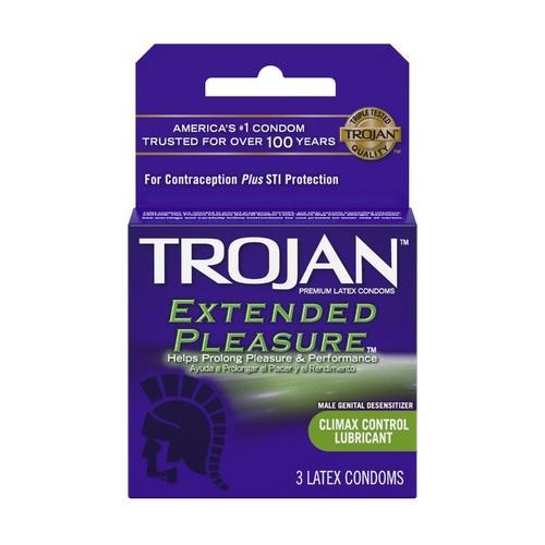 Trojan Extended Pleasure Lubricated Condoms - 3 Pack
