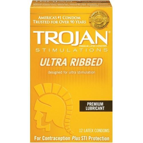 Trojan Stimulations Ulta Ribbed - 12 Pack