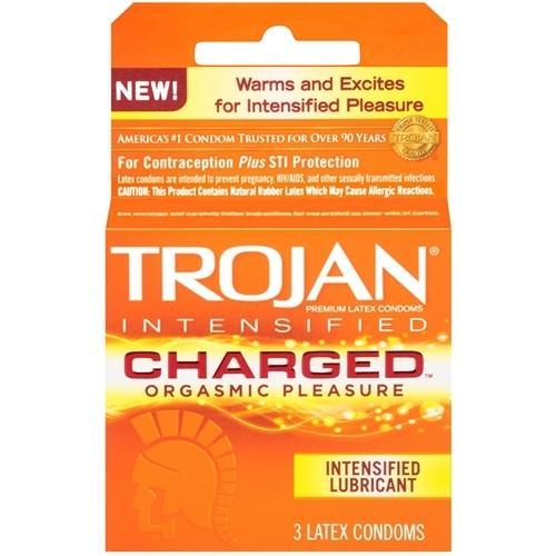 Trojan Intensified Charged Orgasmic Pleasure Condoms - 3 Pack
