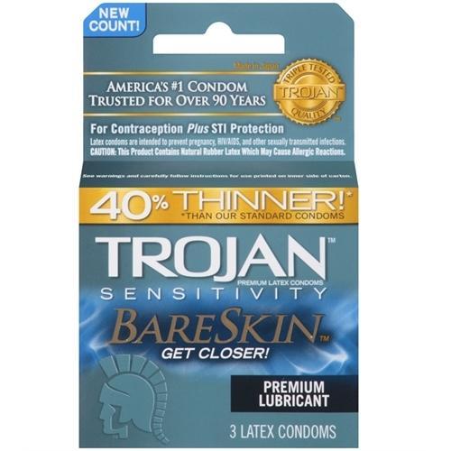 Trojan Sensitivity Bareskin Lubricated  Condoms - 3 Pack