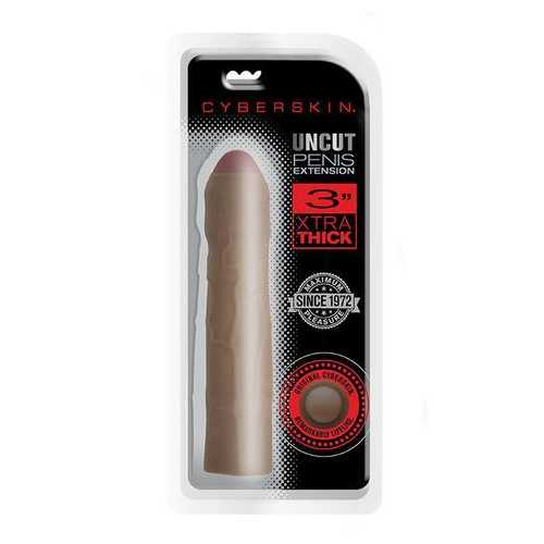 Cyberskin 3 Inch Xtra Thick Uncut Transformer  Penis Extension - Dark