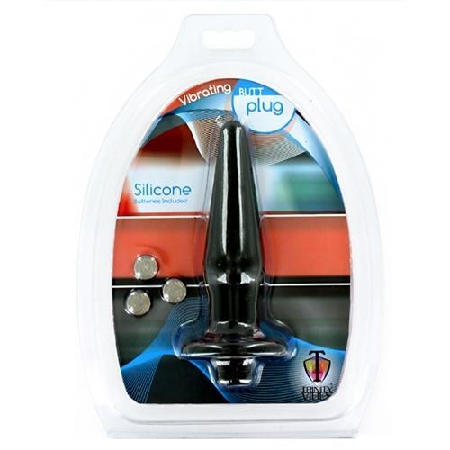 Silicone Vibrating Butt Plug - Small - Black
