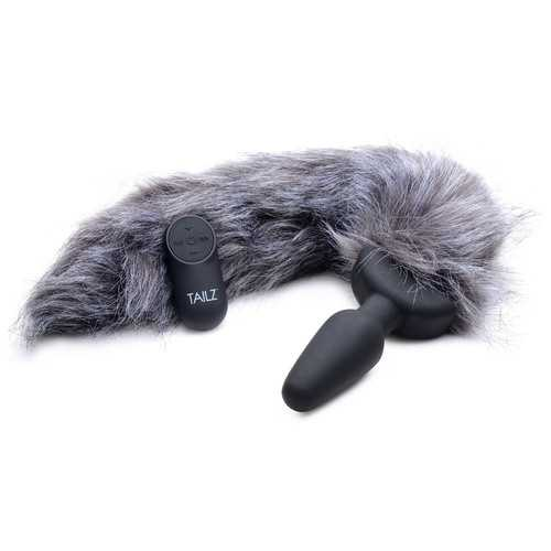 Grey Fox Tail Vibrating Anal Plug
