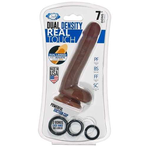 Cloud 9 Novelties Dual Density Real Touch 7 Inch With Balls - Brown