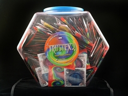 Trustex Assorted Colors Lubricated Condoms - 288 Piece Fishbowl