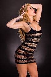Tank Dress With Horizontal Stripes - One Size - Black