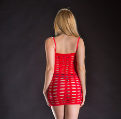 Spaghetti String Dress Exotic Mesh - One Size - Red
