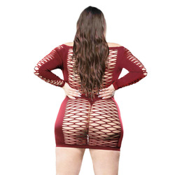 Ladies Long Sleeve Mesh Dress - Burgandy - 1x-4x