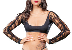 Crotchless Short Style With Mesh Bottom Leggings - One Size - Black