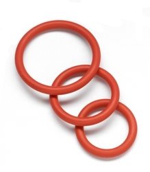 Nitrile Cock Ring Set - Red