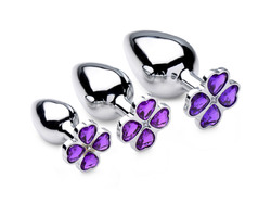 Violet Flower Gem Anal Plug Set