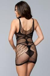 Sleeveless Dress Bodystocking - Queen Size - Black