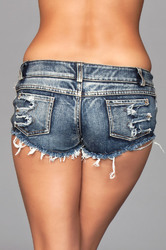 Medium Wash Denim Shorts With Distressed Details on Front and Back Pockets - Medium