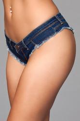 Buns Out Cheeky Shorts - Dark Wash - Large