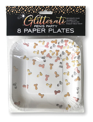 Glitterati Penis Party Paper Plates - 8 Count