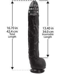 Dick Rambone Cock - 17 Inch - Black - Bulk