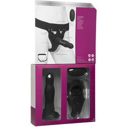 Body Extensions - Hollow Slim Dong Strap-on  2-Piece Set With Clitoral Vibrator - Black