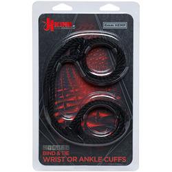 Kink - Hogtied - Bind & Tie - 6mm Hemp Wrist or  Ankle Cuffs - Black